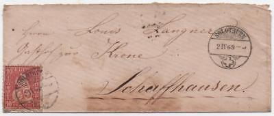 SWITZERLAND: 1869 Example on Small Cover to Schaffhausen - Solothurn (11672)