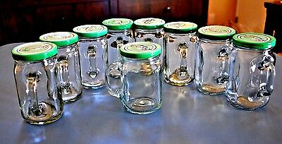 Vintage Glass Jelly Canning Jars, Drinking Glasses w/ Handle & Lids ( Lot of 9 )