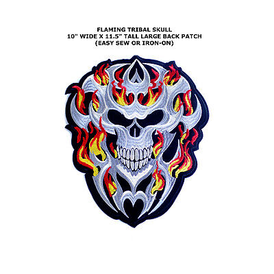 Large Jumbo Flaming Skull Jacket Embroidered Easy Sew Or Iron-On Back Patch