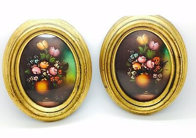 Vintage Framed Signed Oil Miniature Paintings Lot Of 2 Beautiful Florals
