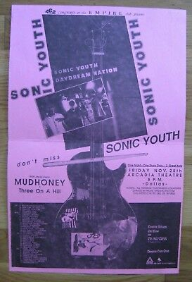 SONIC YOUTH & MUDHONEY Flyer 11x17 Dallas Nov 25th 1988 Indie GRUNGE Punk Noise