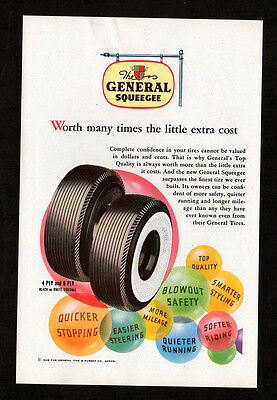 1948 GENERAL Squeegee Tires vintage Original Print AD - white sidewall color art
