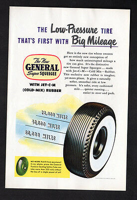1949 GENERAL Super Squeegee Tires vintage Original Print AD - White sidewall art