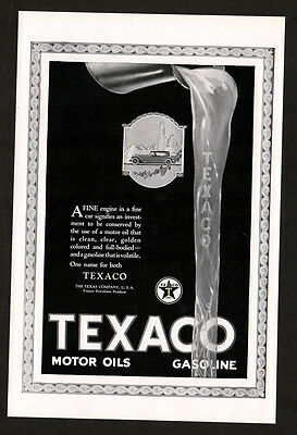 1923 TEXACO gasoline vintage original Print AD - car art A fine engine in a fine