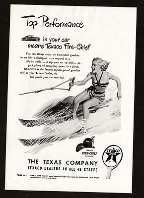 1948 TEXACO gasoline vintage Print AD - Water skiing woman art, Fire-Chief sign