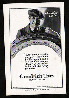 1920 B.F. GOODRICH Cord Tires vintage Original Print AD - Silvertown man photo