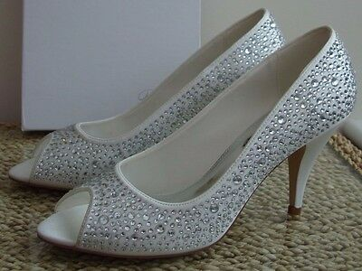 Jenna Perfect Crystal Encrusted Open Toe Wedding Shoes, Hand Made Satin Uppers