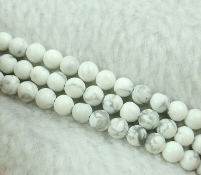 4MM Natural Round smooth howlite Jewelry Making loose GEM beads strand 7.5''