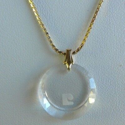 Vintage Signed Pierre Cardin Gold Tone Round Crystal Logo Pendant Necklace