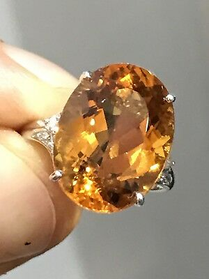 Genuine Earth Mined Citrine And Diamond Ring In 9ct Gold