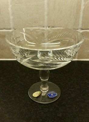 Bohemia Czech stem footed bowl fine cut lead crystal 24% immaculate condition