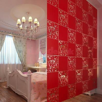 4pcs Hanging Screen Room Divider Partition Wall Sticker Panels Decal Red