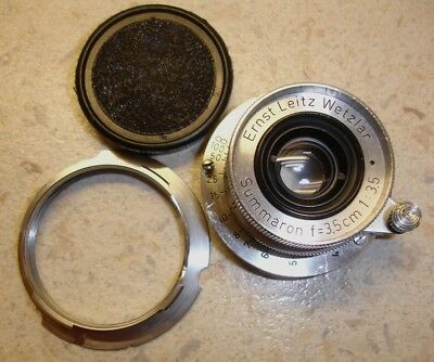 LEICA - ERNST LEITZ WETZLAR F3.5 35mm SUMMARON SCREW LENS WITH M MOUNT ADAPTOR.