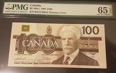 1988 BC-60a-i $100 GEM UNC65 Exceptional Paper Quality graded by PMG