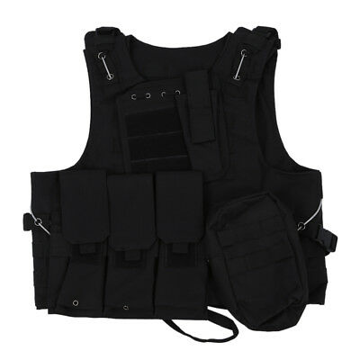Nylon Jacket Vest Black MOLLE Tactical Paintball Airsoft Combat  PK A3R1