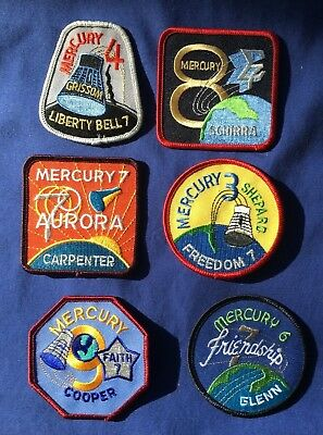 """Lot of 6 different MERCURY 3"""" shoulder NASA PATCHES NEW!"""
