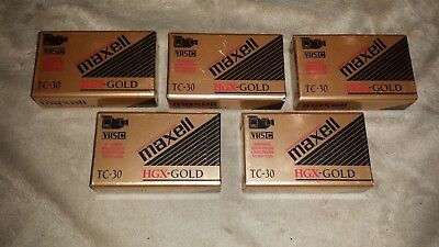 Lot of 5 Maxell VHSC HGX-Gold TC-30 Tapes - New - Sealed