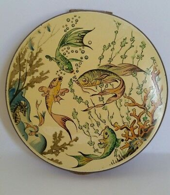 Vintage Rare KIGU Under Sea and Fish Enameled Scene Powder Compact. Must See!