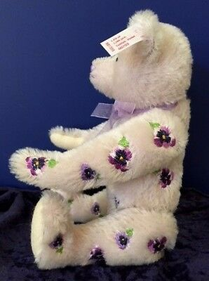 STEIFF 2009 Genuine Mohair VIOLET THE FLOWER BEAR LE 1500 Rare Purple w/Cert.
