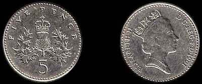 5 Pence Coin UK 1991