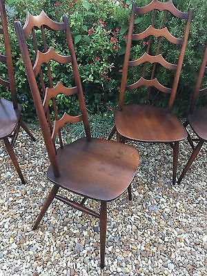 Set Of 4 Rare Ercol Windsor Old Colonial Dining Chairs