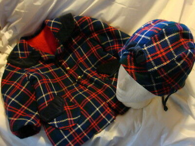 Vintage Child's Plaid Uniion Made Coat & Hat Size 2 Toddler Girl Wool 1950S 60S