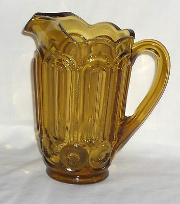 "LE Smith MOON & STARS AMBER *8 1/4"" 40 oz PITCHER*"