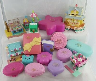 Huge Lot of Vintage Bluebird Polly Pocket Compacts Houses Clubhouse Cat Book