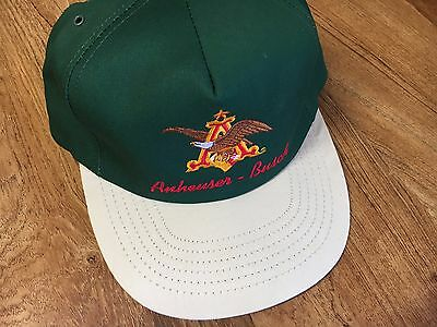 VINTAGE ANHEUSER BUSCH BEER HAT Snapback Green and beige Made in USA!