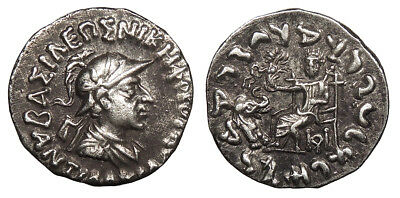 Kings of Baktria Antialcidas AR Drachm 115-95 B.C. EF