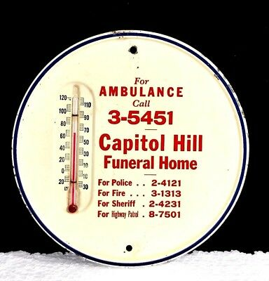 Mid-Century CAPITOL HILL FUNERAL HOME THERMOMETER~Emergency phone numbers~Works