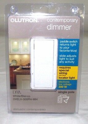 New LUTRON DVELV-300PH-WH Diva 300 W 1-Pole Preset Electronic Low-Voltage Dimmer