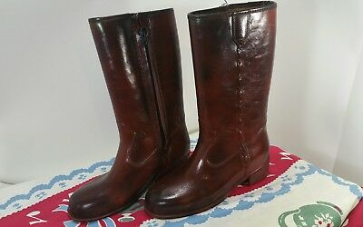 Vintage Rubber Cowboy Rain Boots Child Youth Size 2 Rust Brown