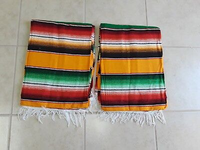 TWO PIECE SERAPE SET ,5' X 7',Mexican Blanket,HOT ROD, Covers, XXL , YELLOW MIX