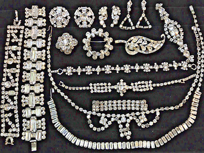 STUNNING Vintage Paste Rhinestone Jewelry Collection, Designer Quality Lot of 14