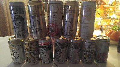 Iron City Beer Collector Can Lot. Roberto Clemente, Chuck Noll, Willy Stargel, B