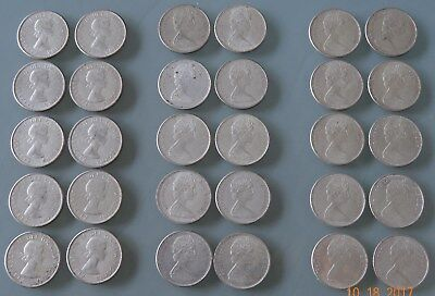 1964 65 66 (30 Pcs) Half Roll Of Each .800 Fine Well Worth Look True $1St Nr