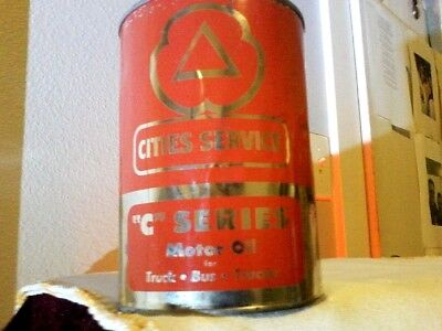"Vintage Cities Service Oil Can One Quart ""c"" Series Motor Oil Full Embossed"