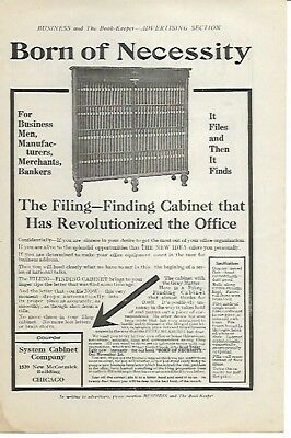 Filing Finding Cabinet No More Chaos System Cabinet Co Chicago 1910 Vintage Ad