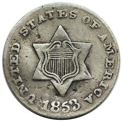 Contemporary Bogus 1853 Three Cent Silver, VF detail