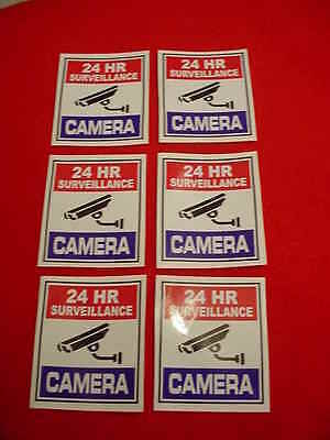 SIX SURVEILLANCE SECURITY CAMERA WARNiNG DECAL/STICKERS for HOME or BUSINESS