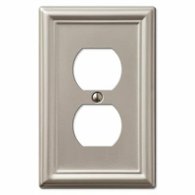 Decorative Wall Switch Outlet Cover Plates Brushed Nickel, Duplex