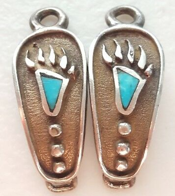 Vintage Old Pawn TURQUOISE & Sterling Silver Bear Wolf Paw Watch Band Tips Ends