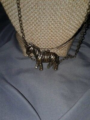Cute Antique Gold Tone Zebra/safari 3-D Long Chain Necklace