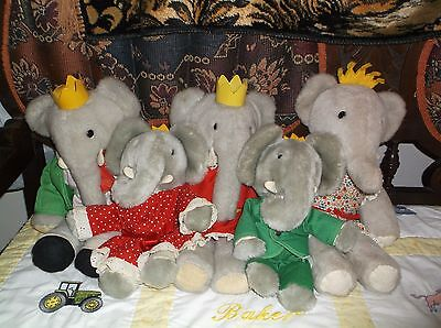 Vintage Eden Babar & Celeste Elephant Stuffed Plush Toy Lot Of 5 From 1977