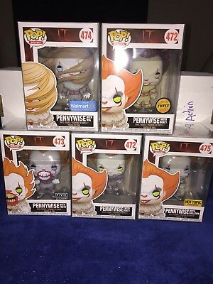 Funko Pop Pennywise IT Lot (5) Pennywise FYE/HOT TOPIC/WALMART/BOAT WITH CHASE!!