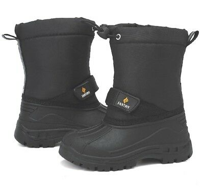 Kids Insulated Winter Boots, Black, 200g Insulation, Non-Slip, Size US 3/ EU 34