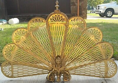 Antique Brass Victorian Fireplace Ornate Peacock Fan Screen Gargoyle Art Nouveau