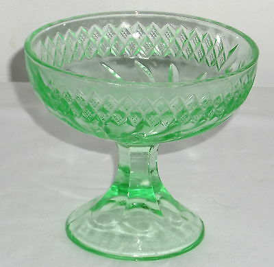 """US Glass FLORAL AND DIAMOND BAND GREEN *4 3/4"""" COMPOTE*"""