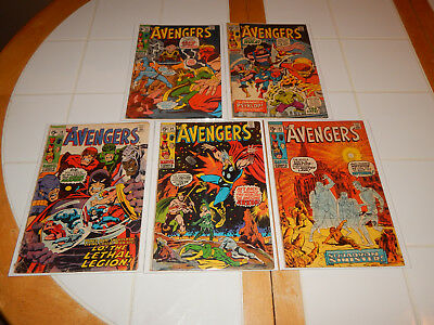 """Large Silver Age Comic Lot Of 5 """"The Avengers"""" #'s 79,84,85,86 & 88 Mid-Grade Cd"""